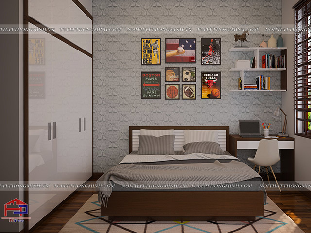 Thiết kế nội thất gỗ an cường phòng ngủ bé trai nhà anh Năng