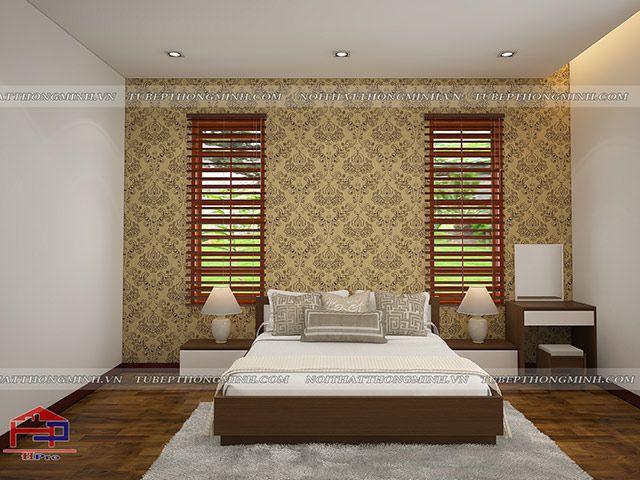 Thiết kế nội thất phòng ngủ Master gỗ An Cường nhà anh Năng