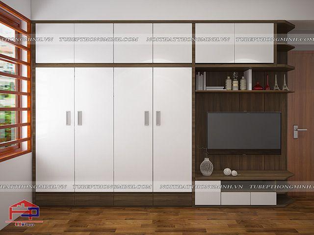 Mẫu thiết kế tủ áo gỗ melamine An Cường phòng ngủ Master nhà anh Năng