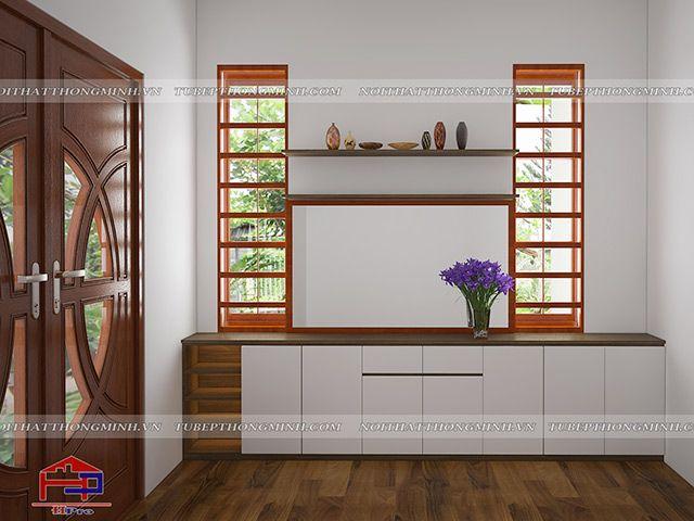 Thiết kế tủ giày gỗ an cường nhà anh Năng - Nam Định