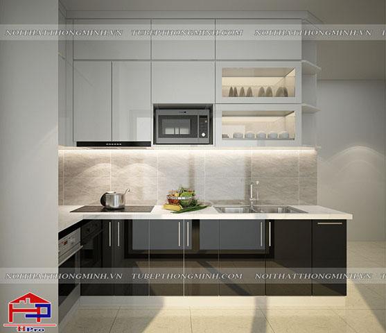Ảnh thiết kế 3D tủ bếp acrylic an cường nhà anh Nam - Đại Mỗ
