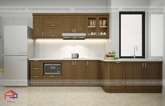 Ảnh thiết kế 3D tủ bếp gỗ sồi mỹ tự nhiên nhà chú Đức - Kim Mã