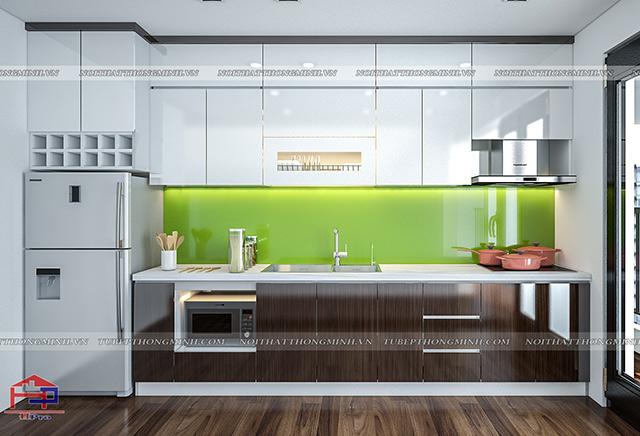 Ảnh thiết kế 3D tủ bếp laminate an cường nhà anh Hoàng
