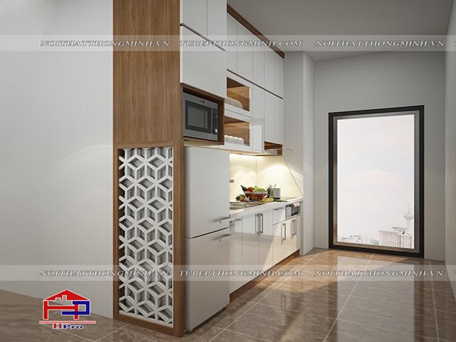Ảnh thiết kế 3D tủ bếp laminate kèm vách ngăn nhà chị Vân