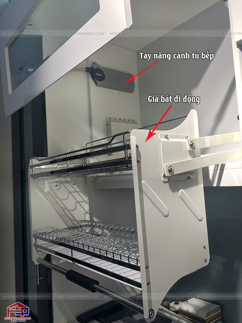 Dụng cụ nhà bếp thông minh- Giá bát nâng hạ và tay nâng blum