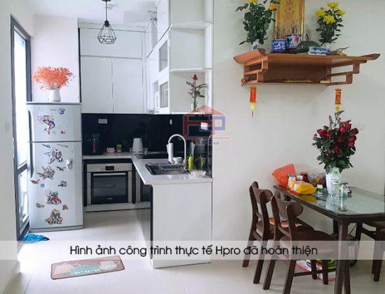 Hình ảnh thực tế tủ bếp acrylic an cường nhà anh Nam sau khi hoàn thiện