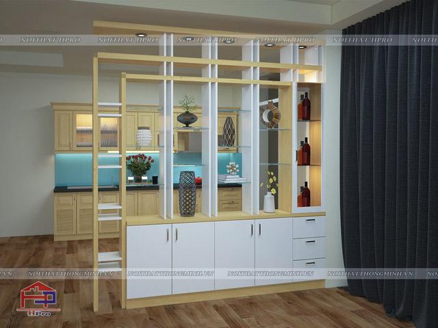 Mẫu thiết kế vách ngăn phòng khách và bếp dạng tủ đồ trang trí giúp gia đình có thêm không gian lưu trữ đồ dùng cũng như trưng bày vật yêu thích. Đây là sự lựa chọn hoàn hảo cho những ngôi nhà có diện tích chật hẹp
