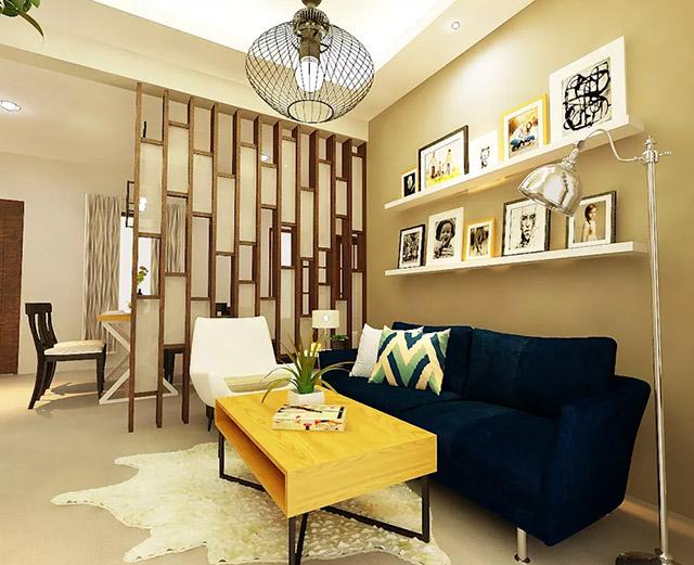 Mẫu thiết kế vách ngăn phòng khách và bếp hiện đại với sự kết hợp giữa màu gỗ và màu trắng, phù hợp với những gia chủ trẻ trung