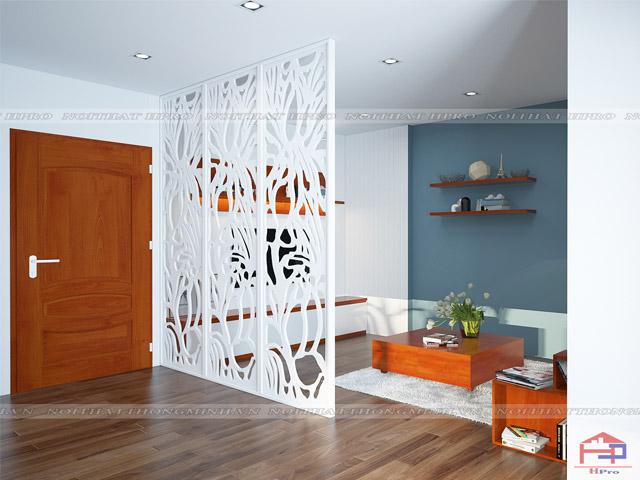 Mẫu thiết kế vách ngăn phòng khách và bếp dành cho không gian nhà rộng rãi nhưng gia chủ không muốn xây tường phân chia giữa các phòng