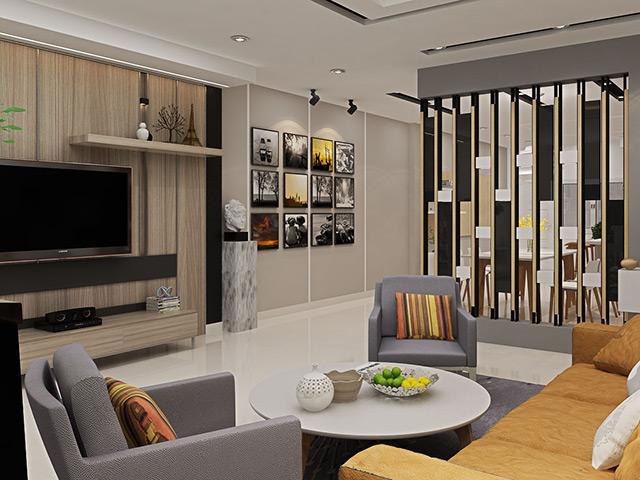 Thiết kế vách ngăn phòng khách và bếp bằng kính với màu sắc đen chủ đạo tạo nên sự sang trọng và đẳng cấp cho không gian