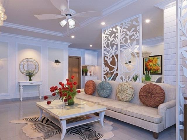 Mẫu thiết kế vách ngăn phòng khách và bếp màu trắng tinh tế với những họa tiết CNC lạ mắt tạo nên một không gian sống hiện đại