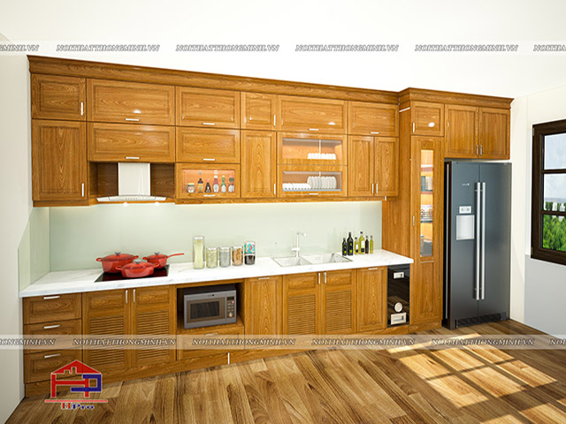 Tủ bếp gỗ Lát TBGL104