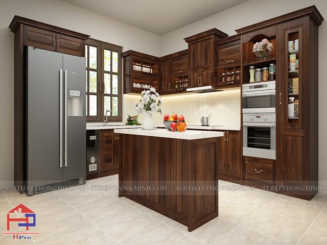 Tủ bếp tân cổ điển TBTCD040