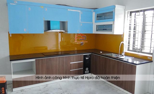 Ảnh thực tế công trình tủ bếp acrylic kết hợp laminate An Cường nhà chị Hồng - Hạ Long