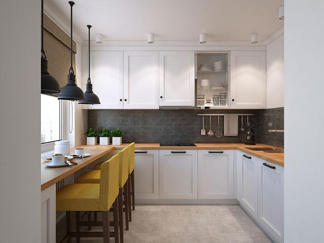 Cách trang trí phòng bếp nhỏ với màu trắng chủ đạo và tận dụng tối đa không gian