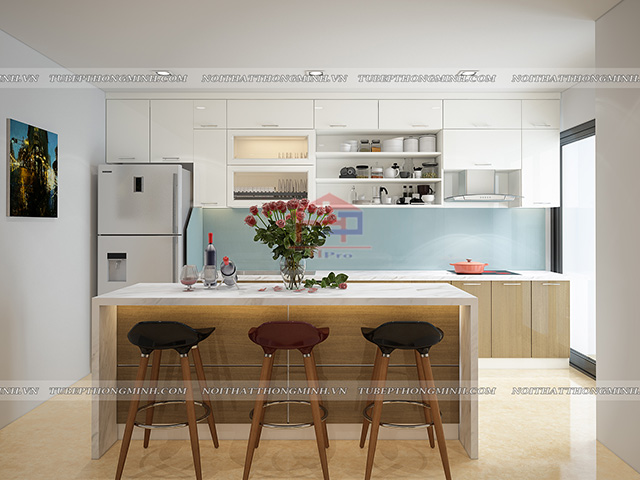 Phòng bếp nhà chung cư cao cấp có diện tích rộng rãi được thiết kế tận dụng tối đa với bộ tủ bếp kết hợp bàn đảo bếp tiện nghi