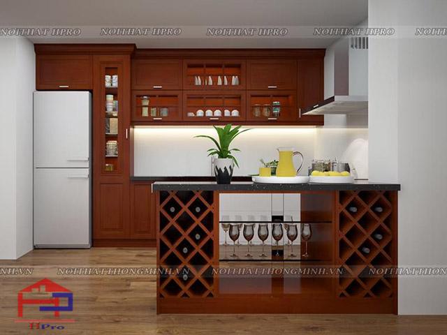 Hình ảnh phòng bếp đẹp được thiết kế khuyết hệ tủ bếp trên để tạo nên sự thoáng đãng