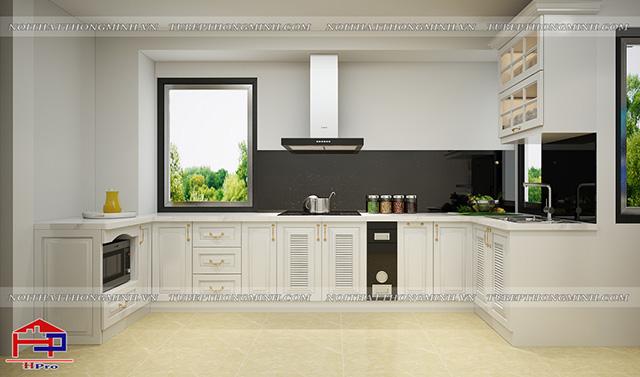Hình ảnh thiết kế 3D tủ bếp MDF lõi xanh sơn trắng nhà anh Khánh - Nguyễn Khang