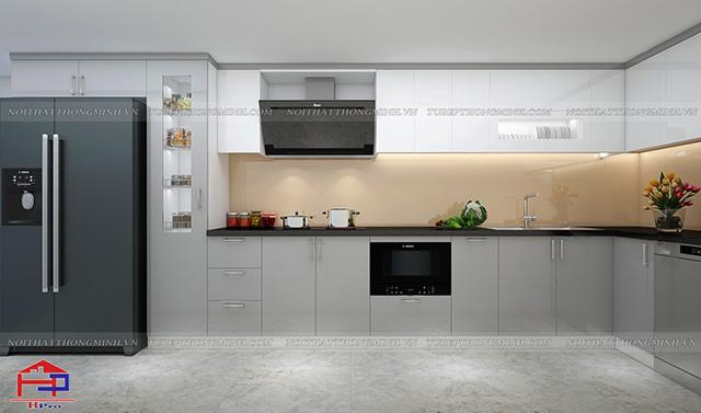 Mẫu thiết kế phòng bếp chung cư nhà anh Thành - Thụy Khuê