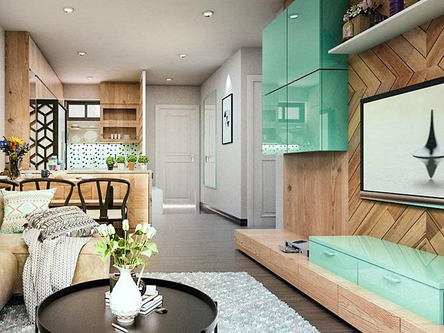 Mẫu thiết kế phòng bếp chung cư đẹp liên thông với phòng khách mang đến một không gian trẻ trung, năng động và tươi mới cho gia đình