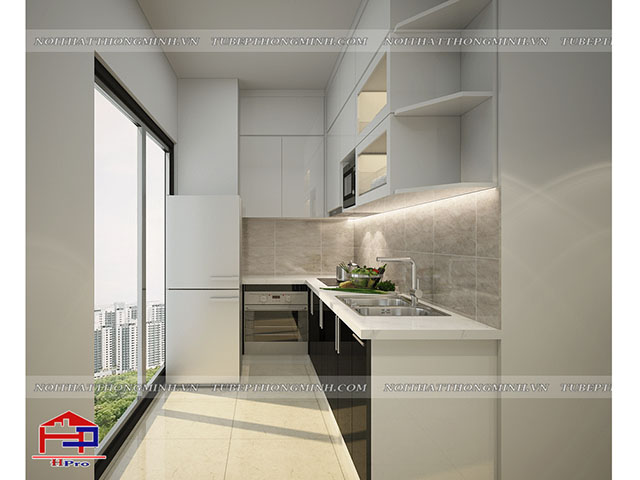 Sự kết hợp giữa màu trắng và đen trong không gian phòng bếp chung cư đẹp mang đến hiệu ứng không gian ấn tượng và thoáng đãng