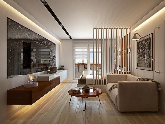 Phòng bếp chung cư đẹp được thieetst kế liên thông với phòng khách và vách ngăn đơn giản giúp phân chia không gian rõ ràng