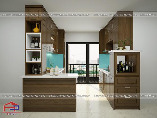Không gian phòng bếp chung cư nhỏ đẹp nhưng có lợi thế về chiều ngang được thiết kế dạng tủ bếp chữ I song song kết hợp bàn đảo bếp tiện nghi