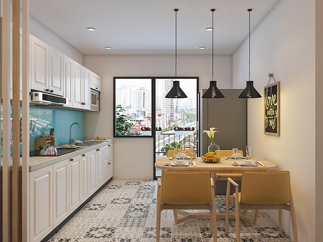 Thiết kế phòng bếp chung cư đẹp mang lại sự rộng rãi, thoáng đãng nhờ cách lựa chọn, bố trí và sắp xếp các đồ nội thất trong gian bếp