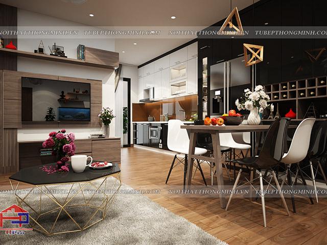 Mẫu phòng bếp chung cư đẹp thiết kế liên thông với phòng khách để tạo nên một không gian mở cực kì thoáng đãng mà vẫn đảm bảo sự tiện nghi