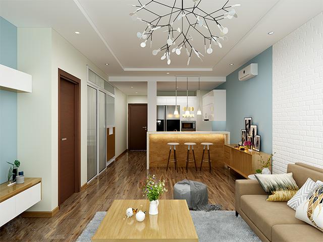 Phòng bếp chung cư đẹp thiết kế liên thông với phòng khách nhưng lại không hề sử dụng vách ngăn mà thay vào đó là quầy bar mini đóng vai trò phân chia khu vực bếp núc và phòng khách vừa tạo nên sự tiện nghi