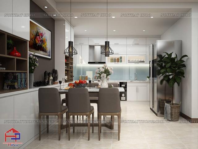 Phòng bếp nhỏ hẹp được sắp xếp gọn gàng đồ dùng nhà bếp. Gam màu trắng chủ đạo giúp không gian trở nên thoáng đãng và rộng rãi hơn rất nhiều