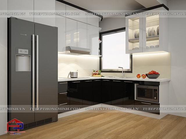 Bố trí gọn gàng, ngăn nắp những đồ dùng nhà bếp để thuận tiện nhất khi sử dụng cho hoạt động nấu nướng