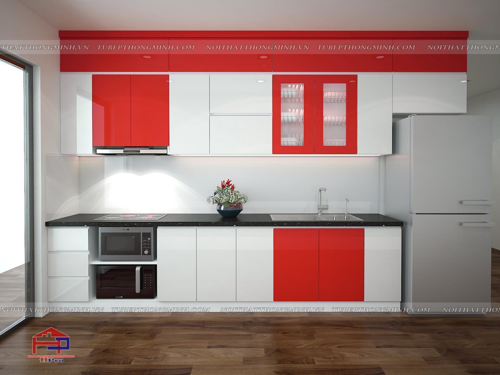 Ảnh thiết kế 3D tủ bếp acrylic màu đỏ - trắng nhà anh Vinh - An Bình City