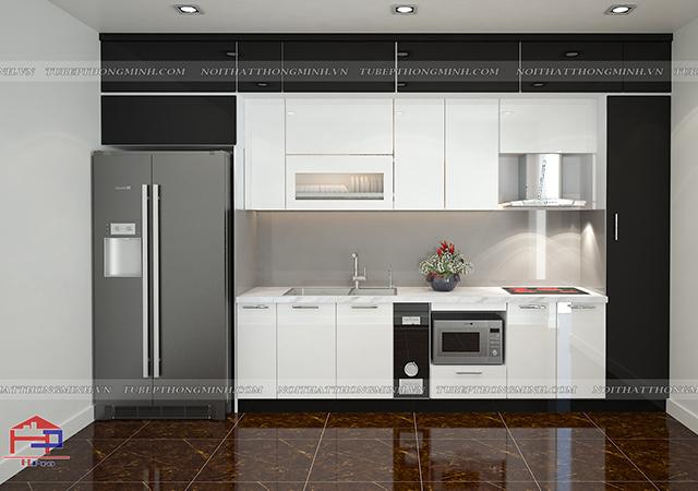 Ảnh thiết kế 3D tủ bếp acrylic nhà anh Diện - Phú Thọ