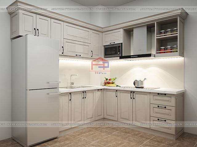 Ảnh thiết kế 3D tủ bếp gỗ MDF lõi xanh sơn trắng nhà chị Mai