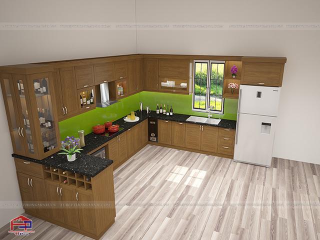 Hình ảnh thiết kế 3D bộ tủ bếp gỗ sồi mỹ kèm quầy bar sang trọng nhà anh Đông - Mê Linh
