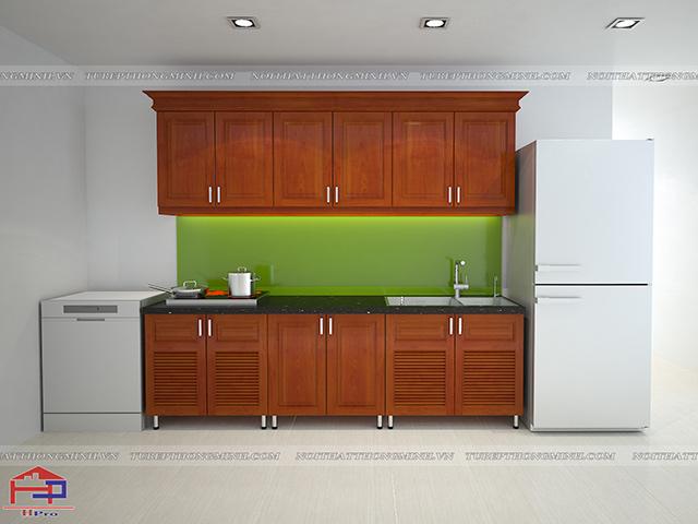 Ảnh thiết kế 3D tủ bếp khung inox cánh gỗ xoan đào nhà anh Đức