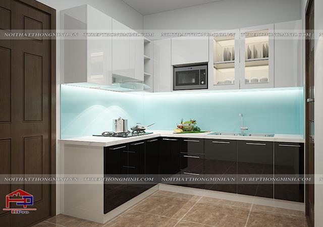 Hình ảnh thiết kế 3D tủ bếp acrylic nhà anh Thành - Thanh Hóa