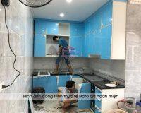 Hpro thi công lắp đặt bộ tủ bếp acrylic an cường nhà cô Vân - Ngọc Lâm