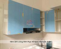 Ảnh thực tế bộ tủ bếp acrylic nhà anh Thành sau khi Hpro hoàn thiện thi công lắp đặt