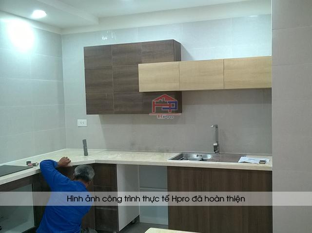 Ảnh thực tế tủ bếp laminate phong cách Châu Âu nhà chú Dũng - CC 99 Trần Bình