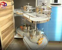 Giá xoay để xoong nồi – thiết kế thông minh tận dụng tối đa góc chết nhà bếp
