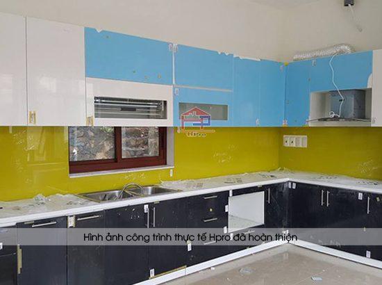 Hình ảnh thực tế tủ bếp acrylic nhà cô Hồng - Hải Phòng