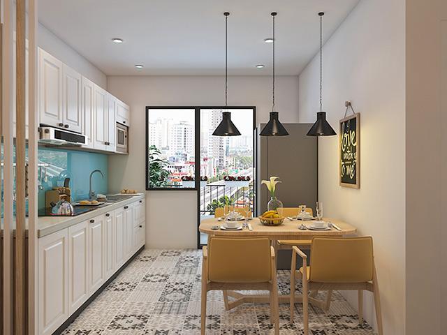 Mặc dù nhà bếp 12m2 nhỏ hẹp nhưng với cách thiết kế khoa học, bố trí thông minh với kiểu tủ bếp chữ I sát tường và bộ bàn ăn hình vuông 4 ghế nhỏ gọn, gia đình vẫn có một không gian nấu nướng và sinh hoạt, ăn uống cực kì thoải mái
