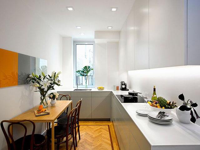 Kiểu bếp chữ L được thiết kế cho không gian nhà bếp 12m2 với diện tích eo hẹp nhưng vẫn đảm bảo được sự tiện nghi cần thiết cho gia đình