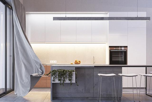 Nhà bếp ở nông thôn được thiết kế theo kiểu biệt thự nhà vườn với khu vườn ngay bên cạnh trồng rất nhiều loại cây xanh. Thiết kế phòng bếp bằng chất liệu gỗ công nghiệp chủ đạo kết hợp những gam màu lạ mắt ấn tượng