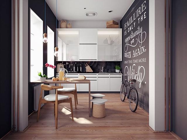 Mặc dù có diện tích nhỏ hẹp nhưng với cách thiết kế và bố trí công năng tối đa, gia đình bạn vừa có thể nấu nướng mà vẫn có thể ngồi dùng bữa ngay tại nhà bếp