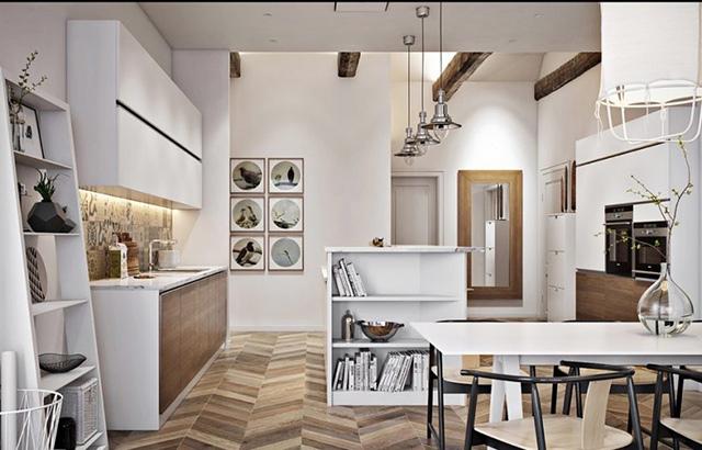 Mặc dù có diện tích rộng rãi nhưng nhà bếp nông thôn được bố trí những đồ nội thất có kích thước phải chăng dựa trên nhu cầu sử dụng của mỗi gia đình