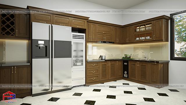 Mẫu nhà bếp ở nông thôn được thiết kế từ chất liệu gỗ sồi mỹ tự nhiên màu nâu vàng sang trọng. Với không gian diện tích rộng rãi cùng thiết kế tận dụng tối đa góc tường bếp để đảm bảo gia đình có không gian sử dụng tiện nghi
