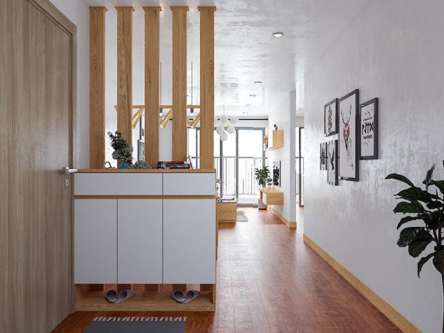 Nội thất gỗ sồi nga tự nhiên - Tủ giày và vách ngăn